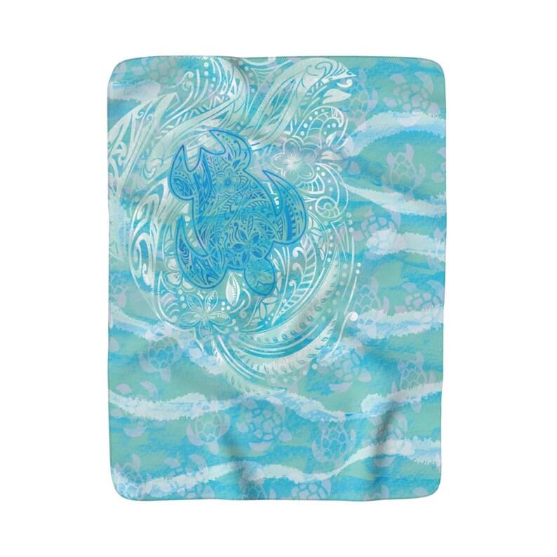 bd03b887 Polynesian Turtle Ocean Spray Sherpa Fleece Blanket   Etsy
