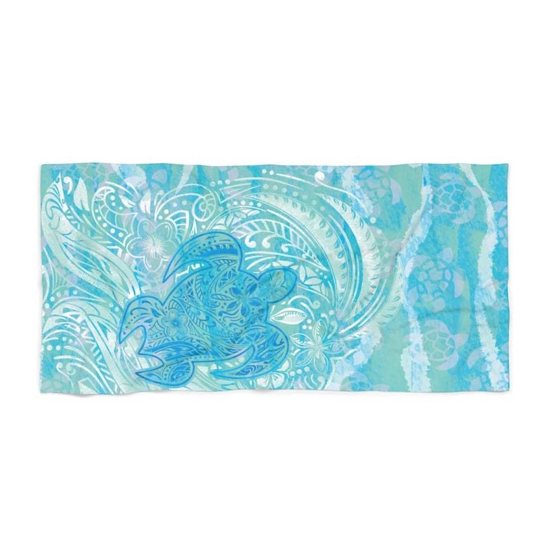 a3a32d4c Polynesian Turtle Ocean Spray Beach Towel   Etsy