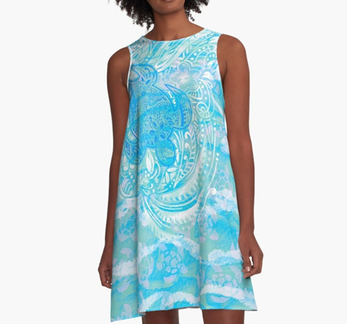 4bed0810 Polynesian-TURTLE-OCEAN-spray A-Line Dress   Etsy