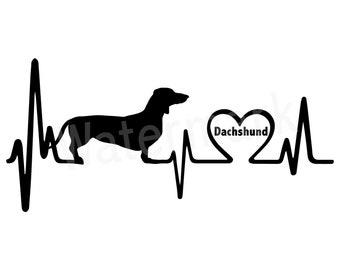 K1025 Dachshund Doxie Heartbeat Monitor Wiener Dog Decal Sticker
