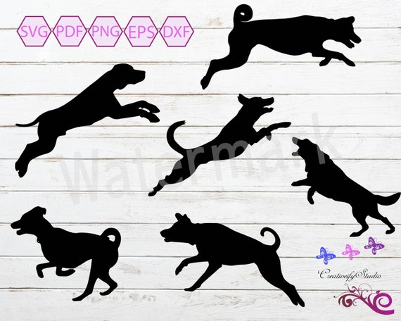 Jumping Dogs Svg Clipart Dog Images Dog Iron On Puppy Etsy