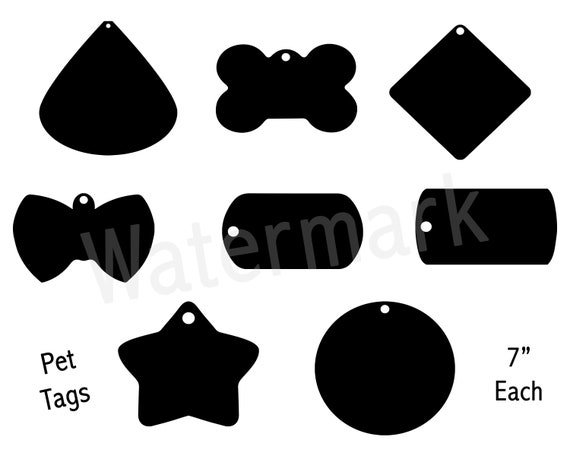 Pet Tags Svg Silhouette Clipart Dog Id Tags Cat Id Tags Stencil Images Pet Collars Pet Accessories Commercial Use Instant Download