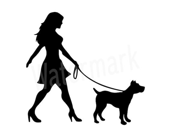 d5d023ea54 Dog Walker Silhouette SVG Woman Walking Dog Canine SVG Dog   Etsy
