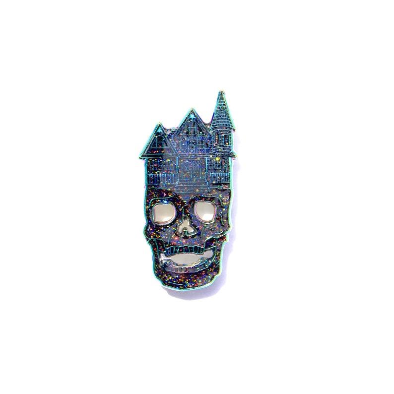 64716f5a1c642 Skull House Spooky Thoughts Glitter Enamel Pin