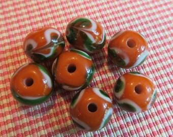 Orange, Green & White Lampwork Glass 10 mm x 9 mm Rondelle Beads. 7 for Sale