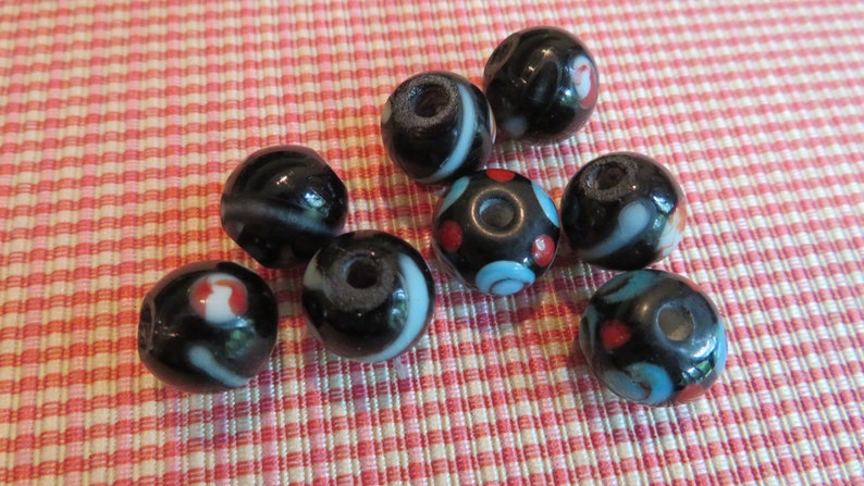 BLACK Lampwork Glass with Blue Red Inner Colors  Rondelle 12 mm x 9 mm. 6 for Sale