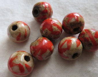 TAN with Red Decoration on  Vintage Nepalese Ceramic Beads (8). 12 mm