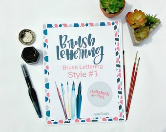 Brush Letter Practice Worksheets - Style #1 - Printable - Modern Calligraphy - Brush Lettering - Lettering Practice - Digital Download