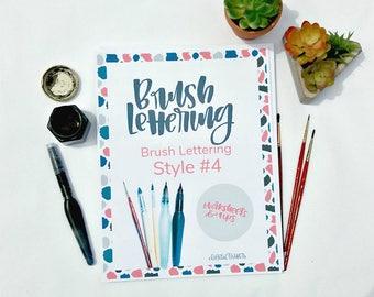 Brush Letter Practice Worksheets - Style #4 - Printable - Modern Calligraphy - Brush Lettering - Lettering Practice - Digital Download