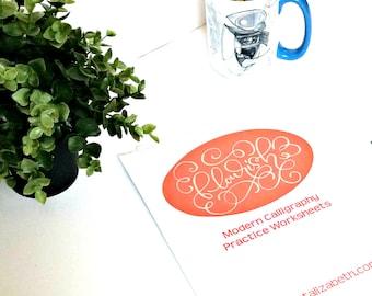 Flourish: Modern Calligraphy Practice Worksheets for Brush Pens - Printable - Digital Download - Lettering Practice - Flourish Practice