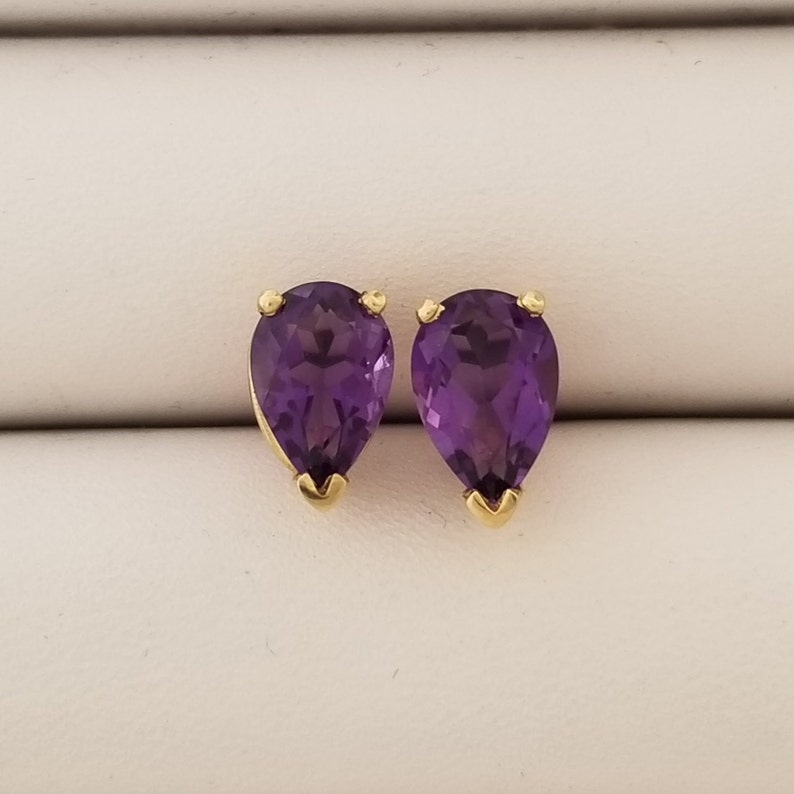 Purple Gift for her February Violet Amethyst 7 x 5 mm Pear Shape Stud Earrings 14K Yellow Gold Anniversary Gemstone