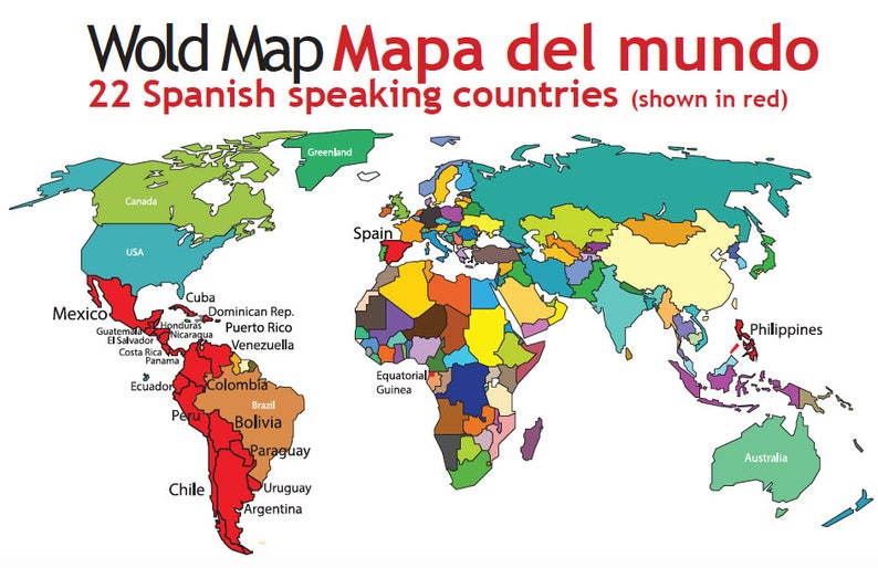 Map Of Spain For Classroom.Spanish Speaking Countries Map Spanish Classroom Materials Etsy