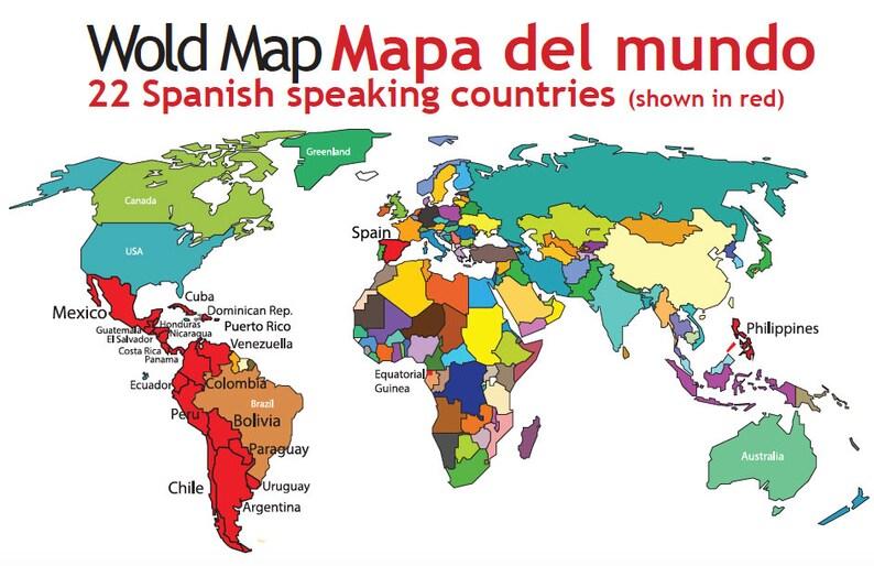 Spanish Philippines Map.Spanish Speaking Countries Map Spanish Classroom Materials Etsy
