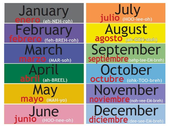 Spanish English Calendar Poster - great for dry erase display