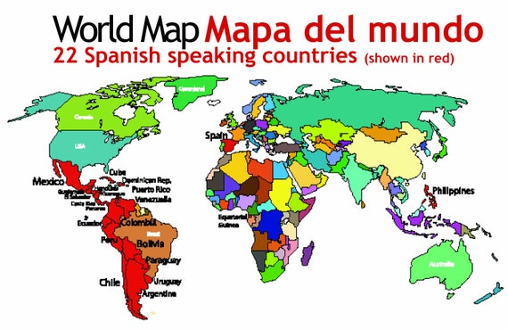 Spanish Speaking Countries Map - Spanish classroom materials