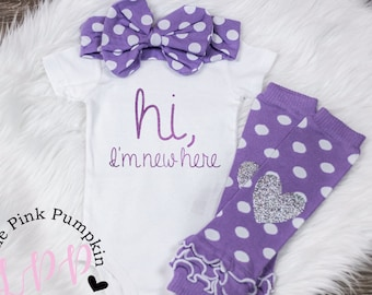 Baby Girl Clothes, Hi I'm New Here Outfit, New Baby Outfit, Hospital Outfit, Coming Home Outfit Baby Girl, Purple, Infant Girl Clothes