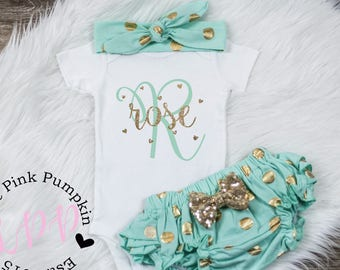 Baby Girl Clothes, Monogram name, baby girl outfit, new baby outfit, cute girls clothes, cute girls clothes, baby girl clothing, baby girl