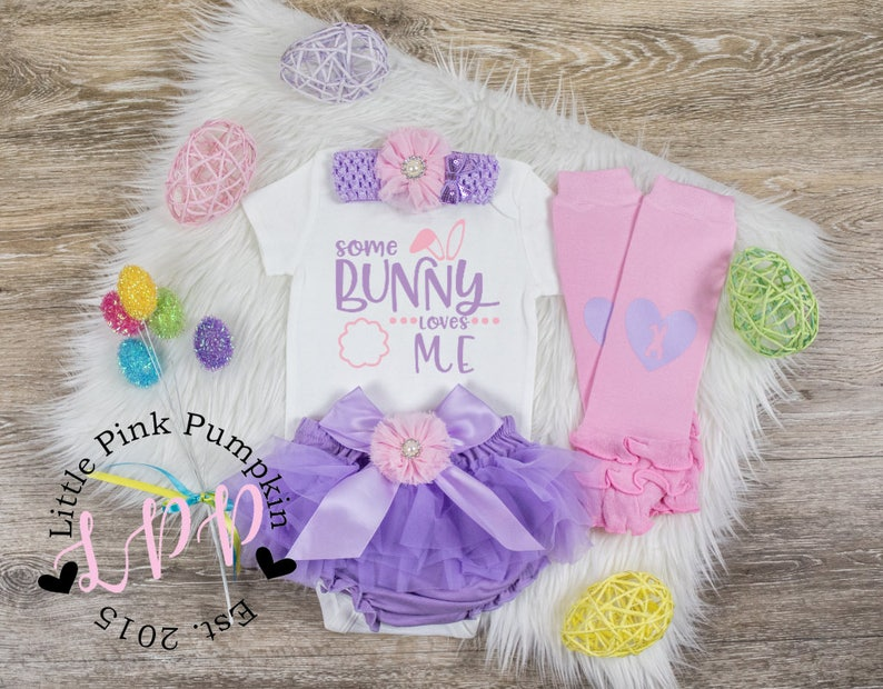 First Easter Outfit Girl 1st Easter Outfit Baby Girl Easter Outfit Newborn Easter My First Easter Girl Newborn Some Bunny Loves Me You