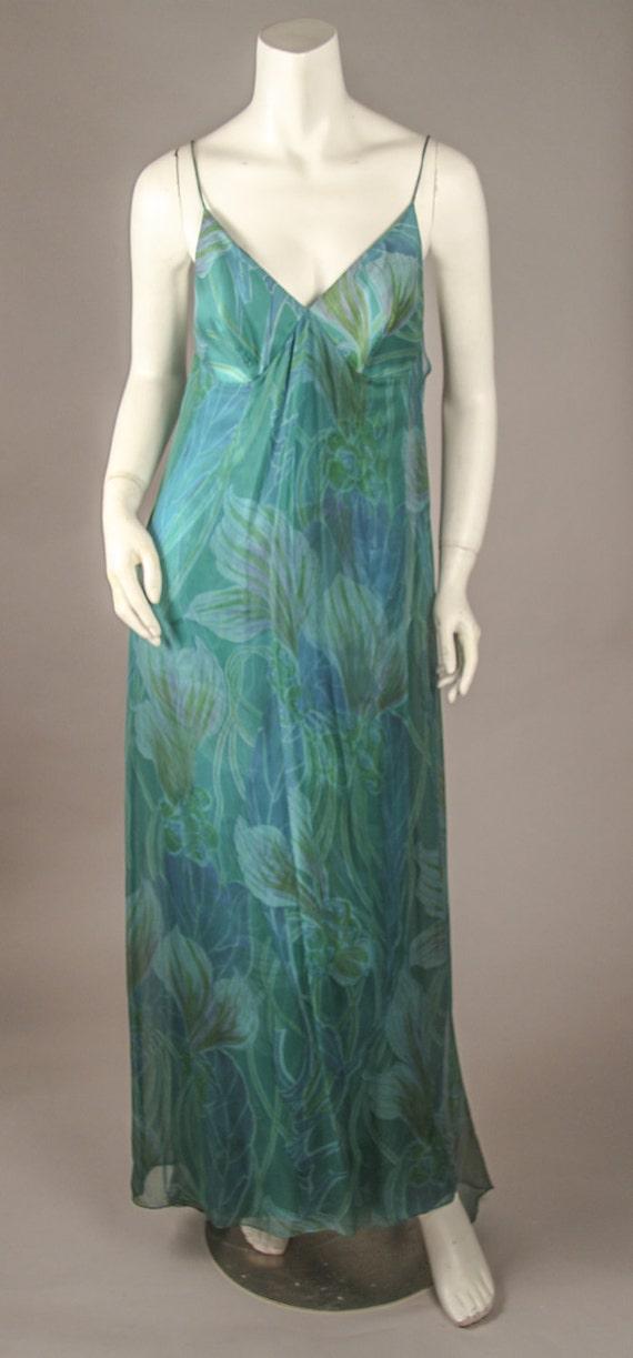 1960's Tropical Print Silk Chiffon Gown