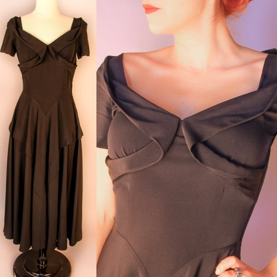 1940's Black Rayon Crepe Gown