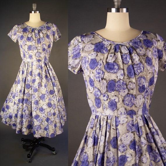 Vintage 1950s | Vintage Dress | Purple Rose Print… - image 1