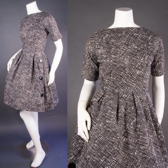 Vintage 1960's | Black & White Checkered Dress | … - image 1