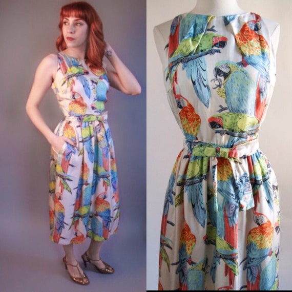 Gorgeous 1940's silk Parrot Novelty print dress