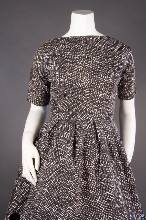 Vintage 1960's | Black & White Checkered Dress | … - image 3