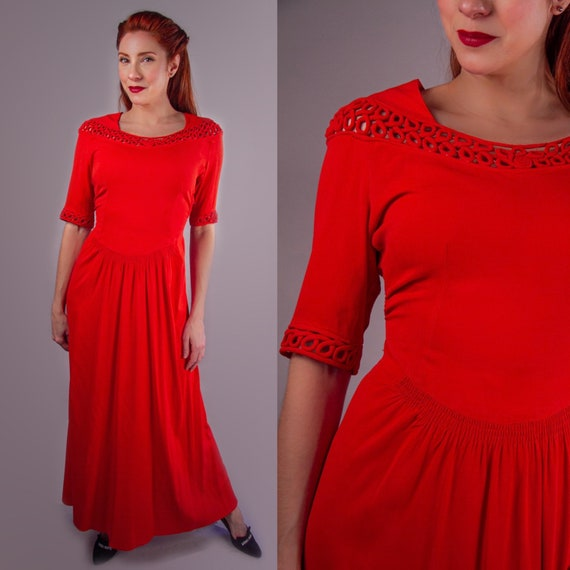 1940's Blood Orange Rayon Crepe Evening Gown
