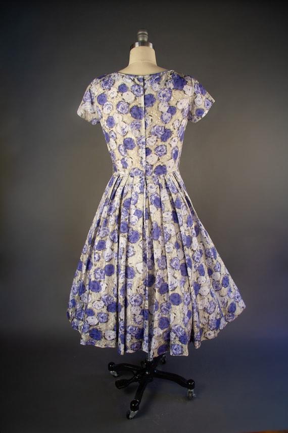 Vintage 1950s | Vintage Dress | Purple Rose Print… - image 6