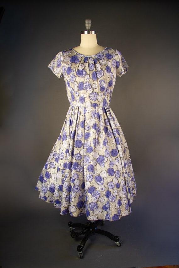 Vintage 1950s | Vintage Dress | Purple Rose Print… - image 2