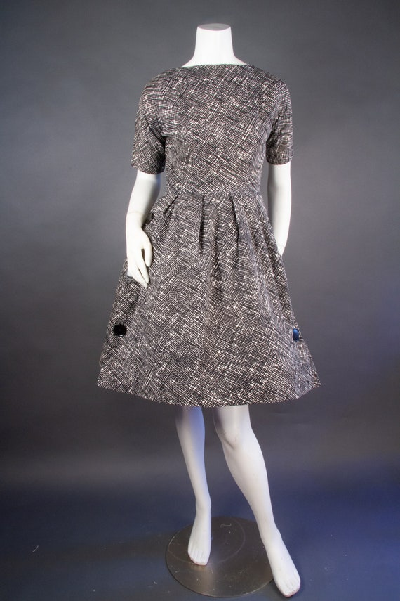 Vintage 1960's | Black & White Checkered Dress | … - image 2