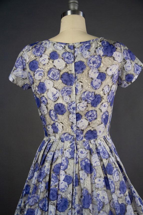 Vintage 1950s | Vintage Dress | Purple Rose Print… - image 7