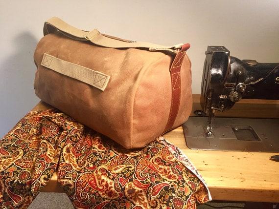 Brass Hardware Waxed Canvas Duffel Overnight Tan Cotton Twill Plaid Interior 18 oz