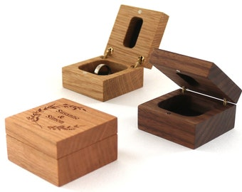 Wooden ring box for engagement ring personalized with engraving