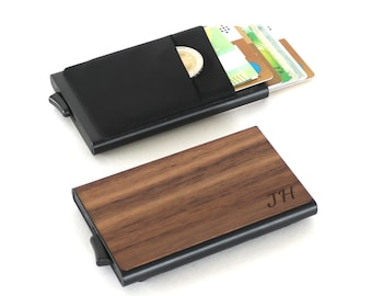 Credit card holder made of wood with personal engraving