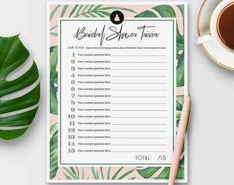 Customize Your Own Bride Trivia Game for Bridal Shower - Tropical Theme - Instant Printable Download