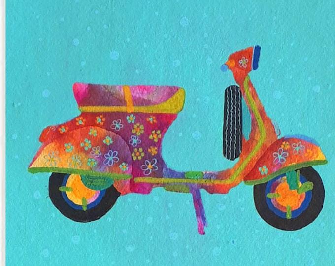 """Watercolor original hippy vespaciclomotor art naif hand made Indian paper baby room 300gm,unique piece,(30x30cm)12''x12"""""""