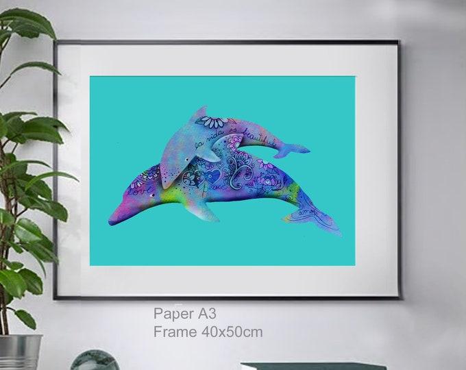 Dolphin mam and baby ,wall art , print of original watercolor ,sea blue mediterranean ,animalart ,ocean