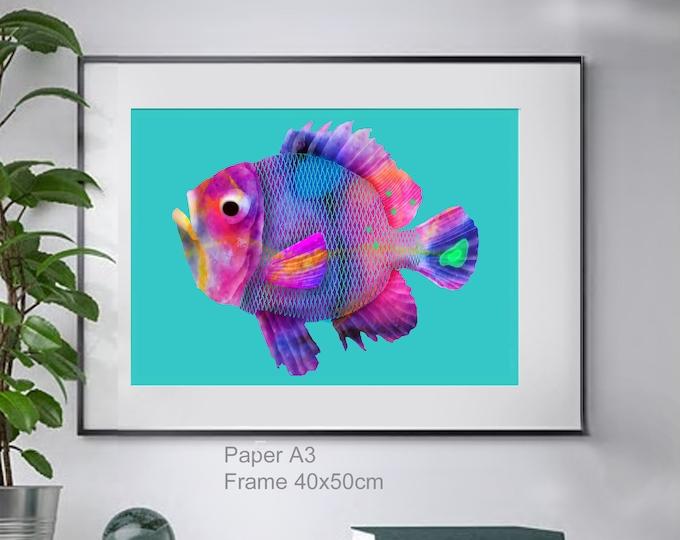 Magenta Fish ,wall art , print of original watercolor ,sea blue mediterranean ,animalart ,ocean