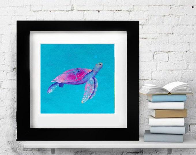 watercolor original turtle ocean art nautical mediterranean blue paper handemade children room sea untherwter 12''x12''(30x30cm)