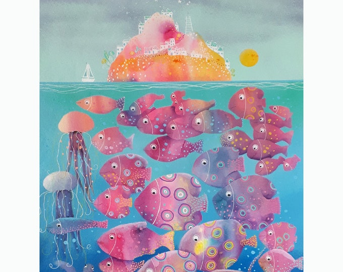 Dream Island Ibiza fishes underwater original watercolor seascape Ibiza mediterranean blue children room living room28''x39''(70x100cm)