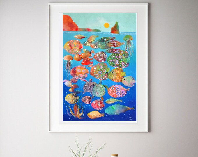Ibiza Benirrás, original watercolor seascape mediterranean blue fishes underwater turtle  children room living room28''x39''(70x100cm)