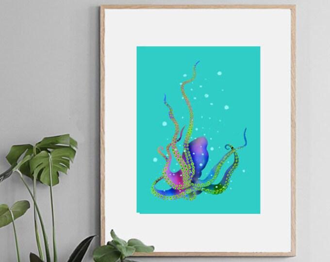 Octopus ,wall art , print of original watercolor ,sea blue mediterranean ,animalart ,ocean