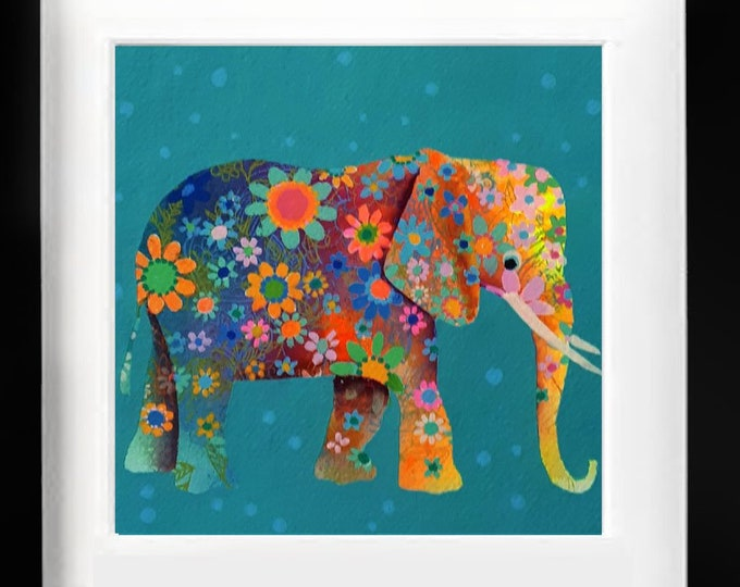"""Watercolor original elephant  animal hindú Jaipur art naif hand made Indian paper baby room 300gm,unique piece(30x30cm)12''x12"""""""