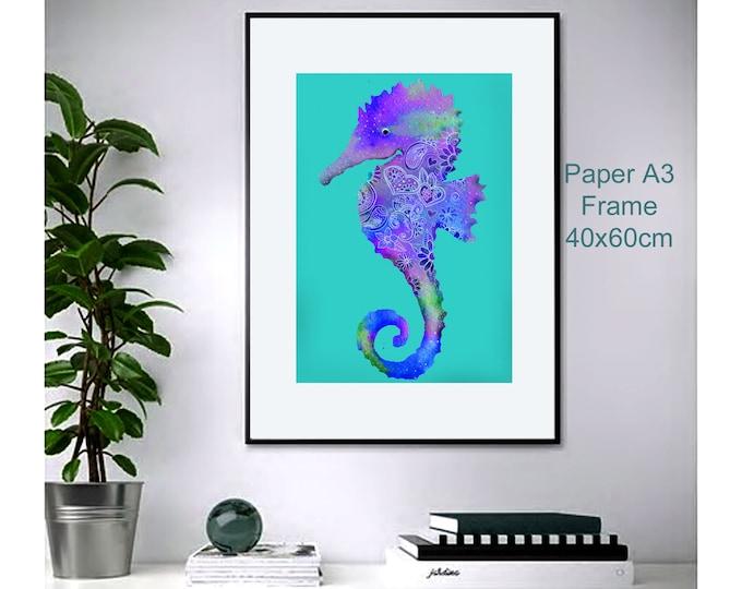 Seahorse ,wall art , print of original watercolor ,sea blue mediterranean ,animalart ,ocean