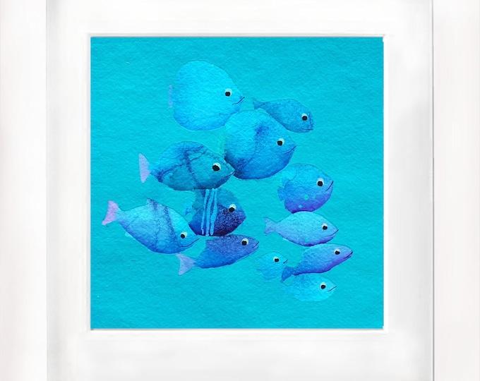 watercolor original Fishes ocean art nautical paper handemade children room sea underwter mediterranean blue unique piece 12''x12''(30x30cm)