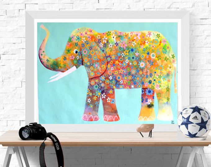 "original elephant  animal hindú Jaipur art naif hand made Indian paper baby room Elephant,flower power,original watercolor paper,20""x28"""
