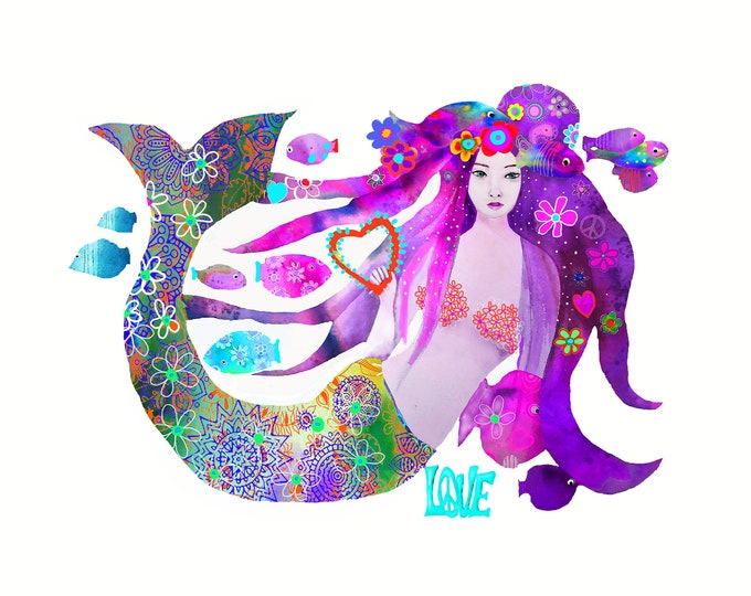 Mermaid hippy flower ,print ,limited edition of the original watercolor
