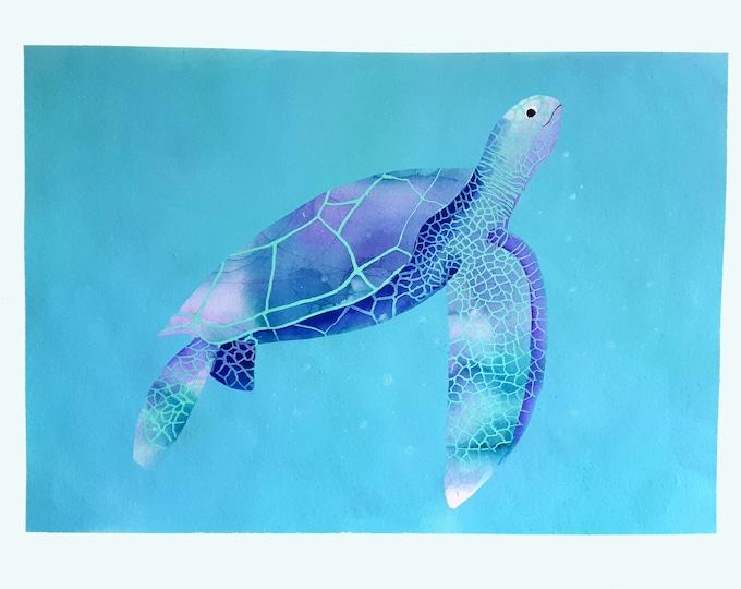 "Sea turtle,original watercolor painting ,art animal,ilustration,sea art,sea life art, blue mediterranean ,home decor,wall art  20""x28"""